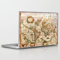 vintage map Laptop & iPad Skins featuring Vintage Map by Diego Tirigall