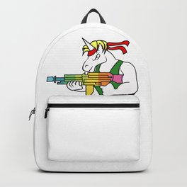 Unicorn  fighter soldier muscles weapon shooting rainbow rambo gift idea Backpack