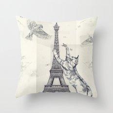cat attack Throw Pillow