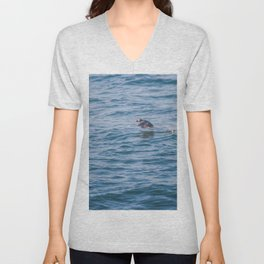 Cute Puffin takes off from the water Unisex V-Neck