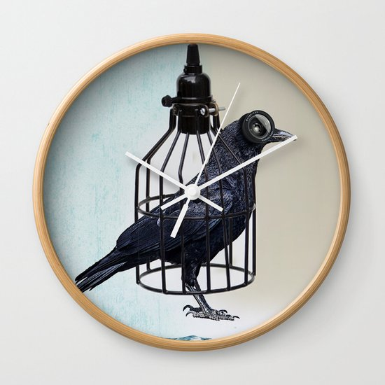 bird in the wire Wall Clock