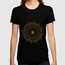 Om Symbol and Mandala in Spiritual Gold Purple Blue Violet T-shirt