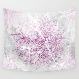 Modern abstract pink watercolor mandala marble pattern Wall Tapestry