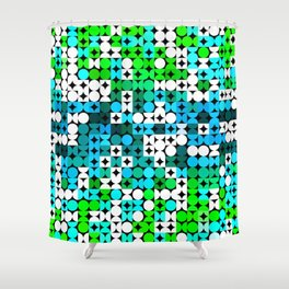 White Turquoise Teal Blue Lime Green Retro Abstract Circles Squares Pattern Shower Curtain