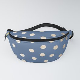 Simply Dots White Gold Sands on Aegean Blue Fanny Pack