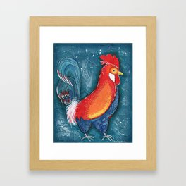 Colorful Rooster on Teal Blue Background by Kimberly Schulz Framed Art Print