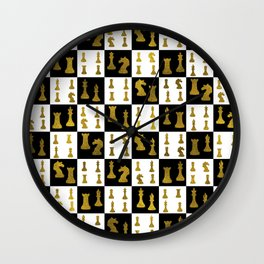 Chessboard and Gold Chess Pieces pattern Wall Clock