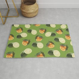 Lime and Clementine Fruits Pattern on Green Background Rug