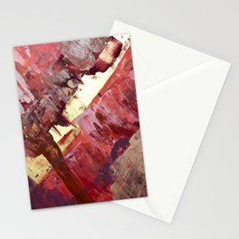 Desert Sun: A bright, bold, colorful abstract piece in warm gold, red, yellow, purple and blue Stationery Cards