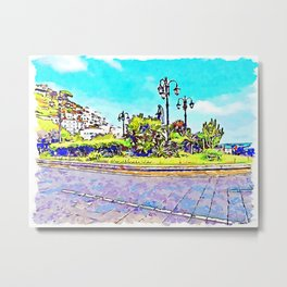 Square of Amalfi with monument and street lamps Metal Print
