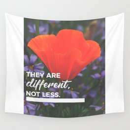 Different Not Less Autistic Child Autism Parent Wall Tapestry