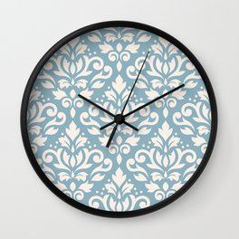 Scroll Damask Big Pattern Cream on Blue Wall Clock