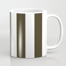 Olive Drab #7 brown - solid color - white vertical lines pattern Coffee Mug