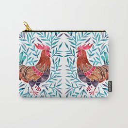 Le Coq – Watercolor Rooster with Turquoise Leaves Carry-All Pouch