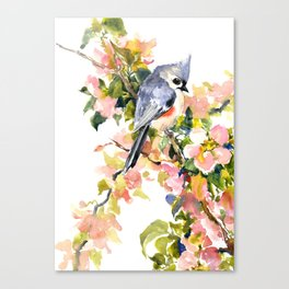 Titmouse Bird and Spring Blossom, floral pink green spring colors Canvas Print