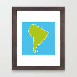 South America map blue ocean and green continent. Vector illustration Framed Art Print