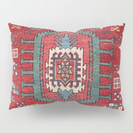 Tribal Honeycomb Palmette IV // 19th Century Authentic Colorful Red Flower Accent Pattern Pillow Sham