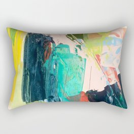 Bloom [2] - a bright mixed media piece in pinks, greens, blues, and yellow Rectangular Pillow