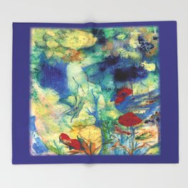 Fairy with Red Flowers Throw Blanket