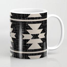 Southwestern Pattern 129 Black and Linen Coffee Mug