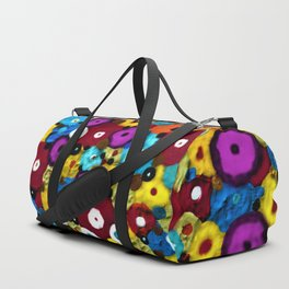 Mixed Flowers - Abstract Mixed Media Painting Duffle Bag