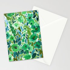 Isla Floral Green Stationery Cards