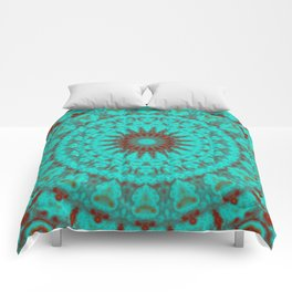 Mandala Fractal in Oxidized Copper 2 Comforters