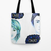 the fault in our stars Tote Bags featuring The Fault In Our Stars by laserghost