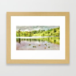 Ducks on the Water, Lake District, Cumbria, UK. Watercolor Painting. Framed Art Print