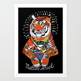 Tiger the Tattoo Artist Art Print