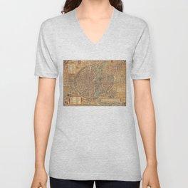 Vintage Map of Paris (1575) Unisex V-Neck