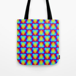 Pattern of blue hearts from the sky stripes on a red background in a bright intersection. Tote Bag