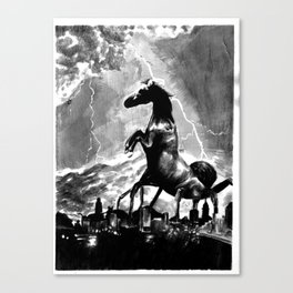 Creature Over The Town Canvas Print
