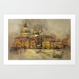 Sunset on The Grand Canal Art Print