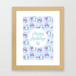 Winter Penguins // Blue Framed Art Print
