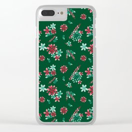 Red and Green Christmas flowers pattern Clear iPhone Case