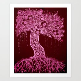 A life without love...  Tree, Pink Art Print