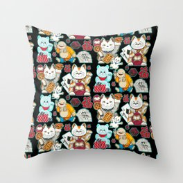 Super Lucky Pattern in Black Throw Pillow