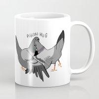 musa Mugs featuring pigeon hug by musa