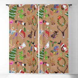 The Elements of Christmas (Pattern) (Light Brown) Blackout Curtain