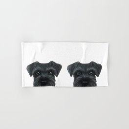 Black Schnauzer, Dog illustration original painting print Hand & Bath Towel