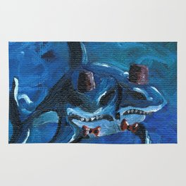 Two Headed Shark with Fez by Mary Bottom Rug