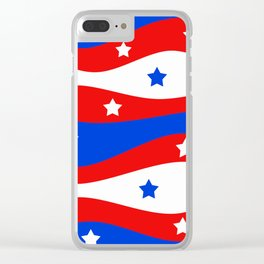 Patriotic Red White Blue Stars Swirls Clear iPhone Case