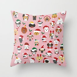 Christmas Dog Pattern Illustration Throw Pillow