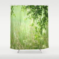 birch Shower Curtains featuring Birch leaves by Tanja Riedel
