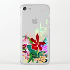 Tropical Blooms Clear iPhone Case