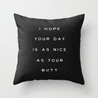 butt Throw Pillows featuring Butt by Noel Shiveley
