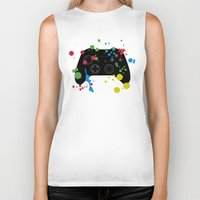 xbox Biker Tanks featuring Controller Graffiti XBox One by AngoldArts
