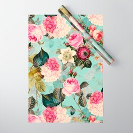Vintage & Shabby Chic - Summer Teal Roses Flower Garden Wrapping Paper