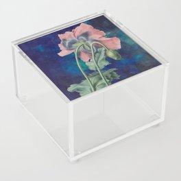 French Poppy - Vintage Botanical Illustration Collage Acrylic Box